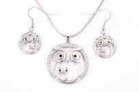 Necklace - Silver Owls Set