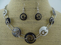 Necklace - Black Koru/Whale Tail Disc Set
