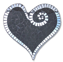 Abstract Mosaic Heart with Mirror Trim / Black