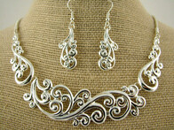 Necklace - Silver Koru Fern Necklace and Earring Set