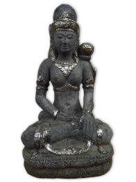 Garden Ornament - Concrete Goddess Flower Buddha 50cm / Black/Silver