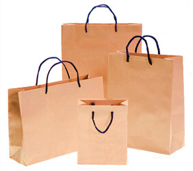Natural Brown Paper Bags with Black Handles per 50 Bags