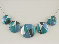 Necklace - Blue Tones Button Disc