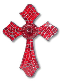 Mosaic Cross with Metal Flower / Red