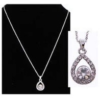 Necklace - Round Crystal Teardrop