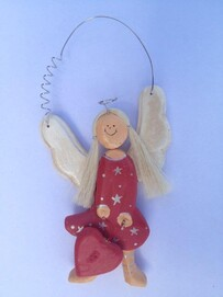 Wooden Angel on wire - Red