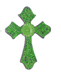 Mosaic Cross with Metal Flower / Green