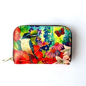 Leather NZ Print Card Wallet - Kingfisher - Irina Velman