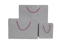 White Gloss Paper Bags with Hot Pink Handles 210gsm per 50 Bags