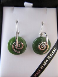 Earrings   Pounamu Koru Round