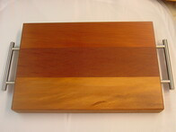 Rimu Chopping Board with Stainless Handles / Small