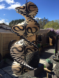 Wooden Wind Mobile * Optical Illusion... Twin Koru