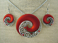 Necklace - Red Koru Necklace & Earrings Set