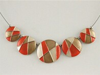 Necklace - Orange Tones Button Disc