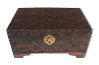 Jewellery Box - Carved Wooden Jewellery Box - 30cm x 15cm