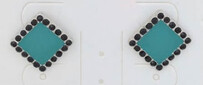 Earrings - Square Teal Earrings with Black Crystals