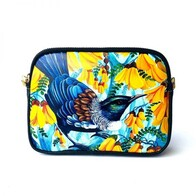 Leather NZ Print Shoulder Bag - Kowhai Tui