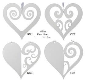 Wooden NZ Hanging Decoration / White Koru Heart