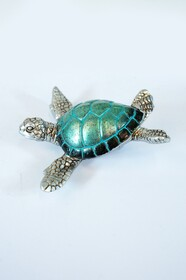 Turtle - Teal and Silver