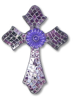 Mosaic Cross with Metal Flower / Purple