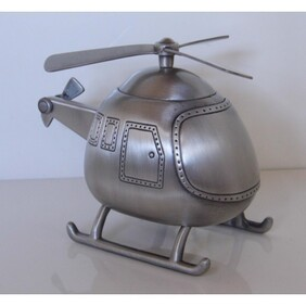 Pewter Helicopter Money Box
