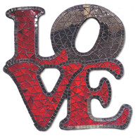 Mosaic LOVE Cube Wall Art / Red and Mirror