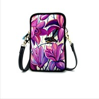 Leather NZ Print Shoulder/Cellphone Bag - Purple Fantail
