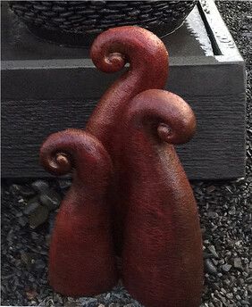 Garden Ornament - Pottery Koru Garden Art - Red (set of 3)