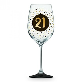 21st Black & Gold Wine Glass