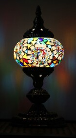Turkish Mosaic Lamp - Small Mosaic Moon Orbit