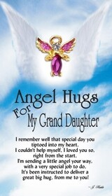 z Affirmation Angel Pin - Angel Hugs for my Granddaughter