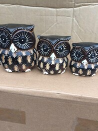 Set of 3 Wooden Owls