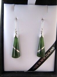 Pounamu Wedge Earrings  with Silver Thread