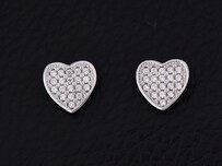 Sterling Silver - Diamante Heart Studs