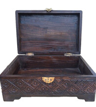 Jewellery Box - Carved Wooden Jewellery Box - 18cm x 13cm