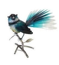 Metal Fantail on Branch (freestanding)
