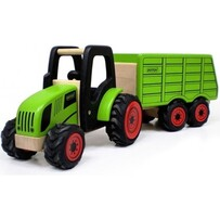 Pintoy - Wooden Tractor & Hopper Trailer