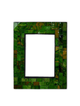 Mosaic Photo Frame / Green Glitter