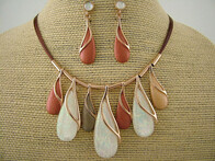 Necklace - Rose Gold & White Droplet Necklace Set