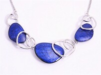Necklace - Blue & Silver Ovals