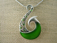 Necklace - Green Fish Hook Necklace