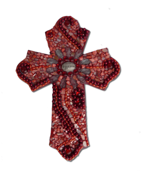Beaded Cross 26cm / Red