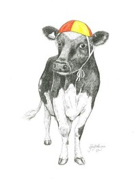 NZ Made Art Print / Krystal Lynn Coco Cow 32cm x 43cm