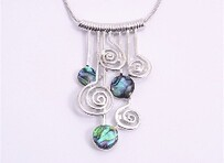 Necklace - Paua & Koru Drops
