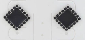Earrings - Black Square Stud with Crystals