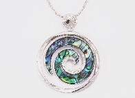 Necklace - Paua & Silver Koru