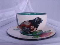NZ Made Handpainted Cappucino Cup and Saucer / Fantail