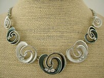 Necklace - Grey Koru and Bead Necklace