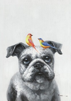 Canvas Wall Art - Birdy 2 and a Dog