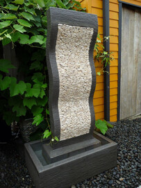 Pebble Effects Water Feature / Cream & Grey 75cm x 147cm